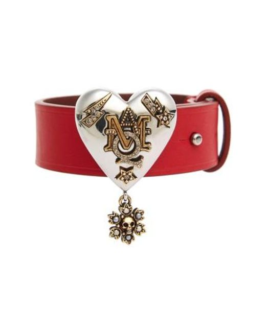 Alexander McQueen | Metallic Heart Leather Bracelet | Lyst