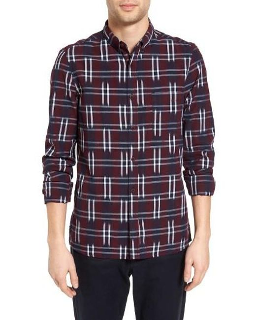 French Connection   Blue Slim Fit Ikat Check Sport Shirt for Men   Lyst