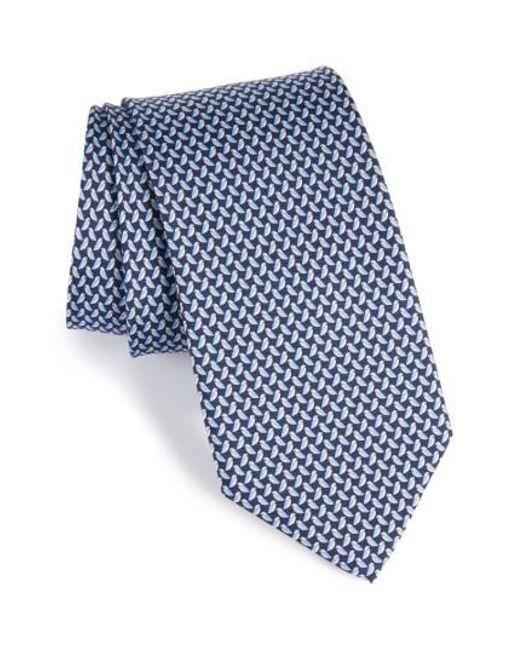Ferragamo   Blue Bird Print Silk Tie for Men   Lyst