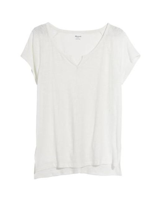 Madewell | White Choral Split Neck Tee | Lyst