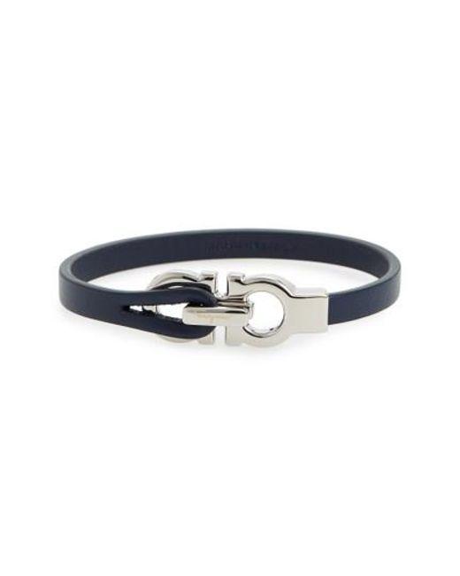 Ferragamo   Blue Double Gancini Leather Bracelet for Men   Lyst