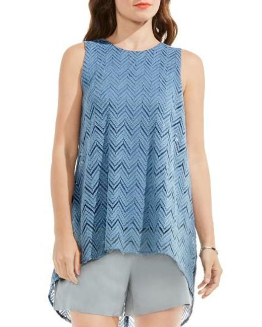 Vince Camuto   Blue High/low Herringbone Lace Blouse   Lyst