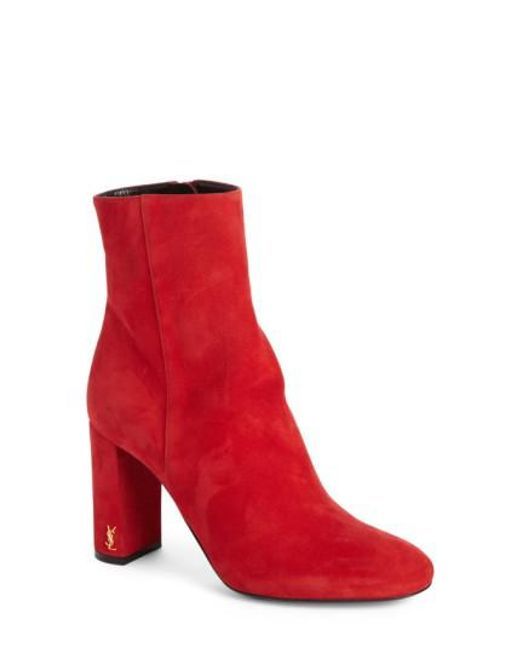 Saint Laurent | Red Loulou Suede Ankle Boots | Lyst