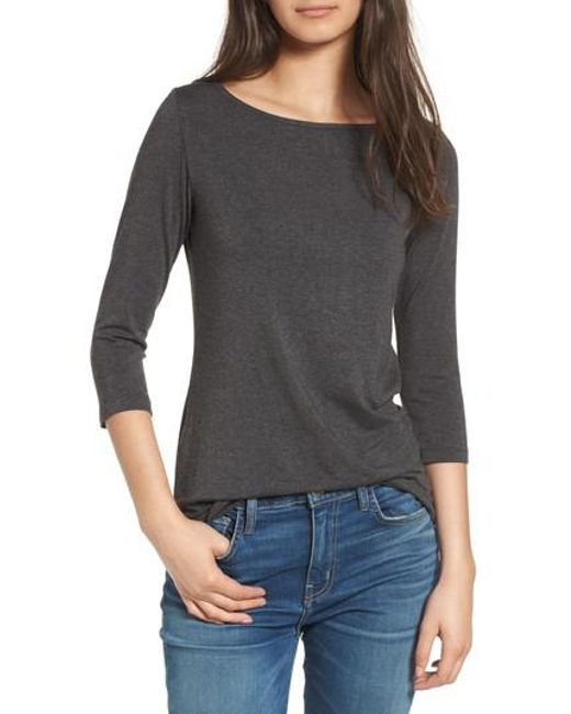 Amour Vert | Gray Francoise Stretch Jersey Top | Lyst