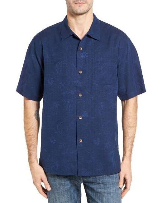 Tommy Bahama Gulf Shore Marlin Silk Camp Shirt In Blue For