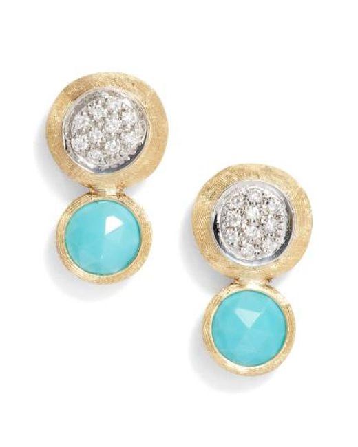 Marco Bicego   Blue Jaipur Diamond & Turquoise Stud Earrings   Lyst