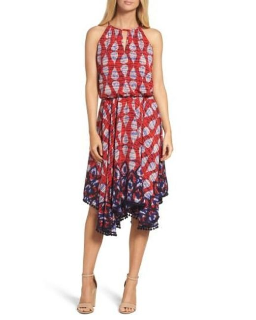Maggy London | Red Ikat Print Fit & Flare Dress | Lyst