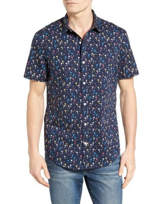 Original Penguin | Blue Short Sleeve Mini Palm Print Lawn Sport Shirt for Men | Lyst
