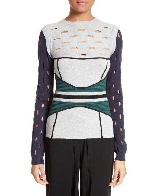 Yigal Azrouël | Gray Knit Colorblock Sweater | Lyst