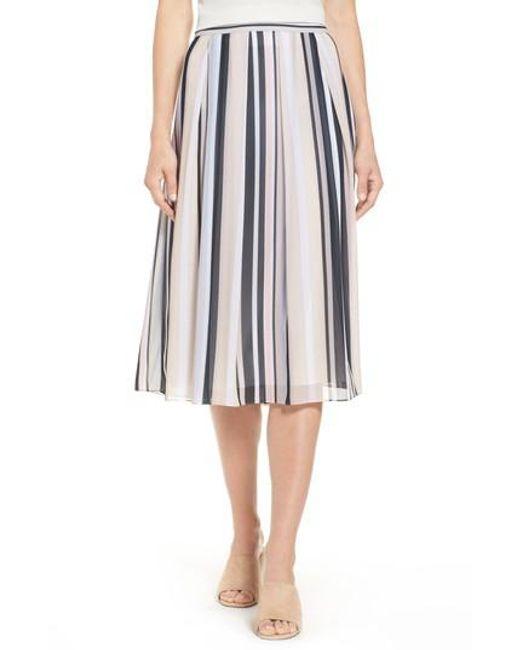 Anne Klein | Black Stripe A-line Skirt | Lyst