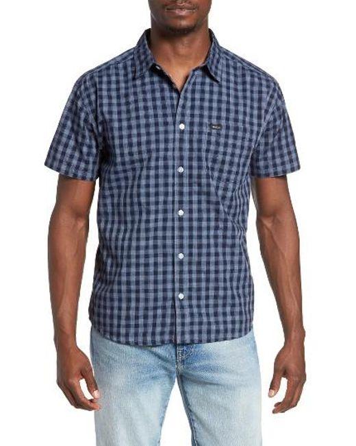 RVCA | Blue Check Woven Shirt for Men | Lyst