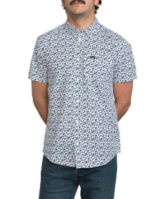 RVCA | White Print Woven Shirt for Men | Lyst