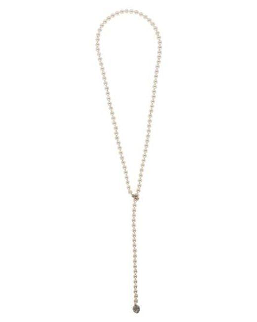 St. John   Metallic Swarovski Imitation Pearl & Crystal Lariat Necklace   Lyst