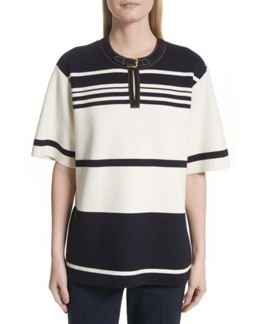 Tory Burch | Yellow Krista Suede Trim Stripe Sweater | Lyst
