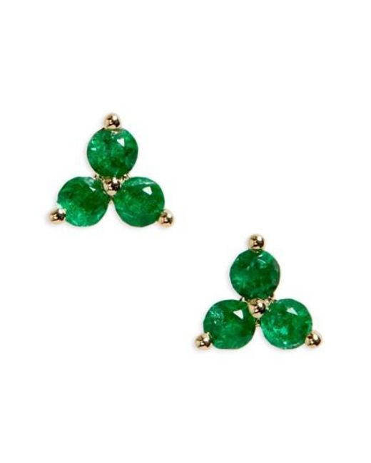 EF Collection | Green Trio Precious Stone Stud Earrings | Lyst