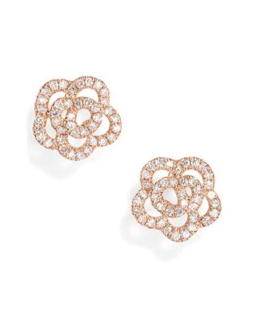 EF Collection | Metallic Rose Diamond Stud Earrings | Lyst