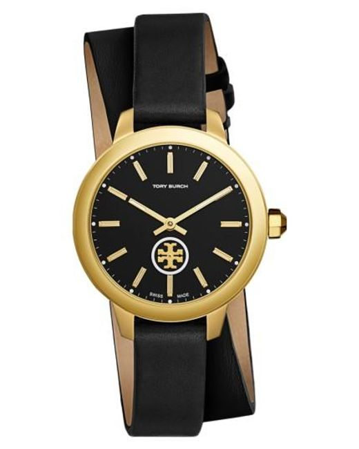 Tory Burch | Multicolor Collins Double Wrap Leather Strap Watch | Lyst