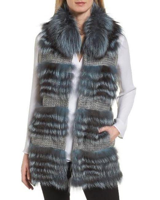 Diane von Furstenberg   Blue Knit Vest With Genuine Fox Fur Trim   Lyst