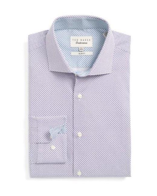 Ted Baker | Purple Locket Slim Fit Geometric Dress Shirt for Men | Lyst
