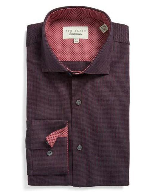 Ted Baker | Red Endurance Trim Fit Pattern Dress Shirt for Men | Lyst