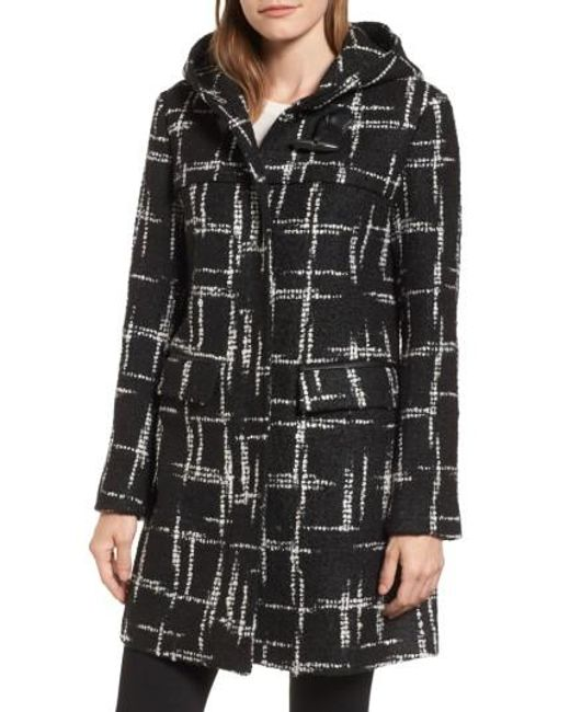Ellen Tracy | Black Pattern Boucle Hooded Toggle Topper | Lyst