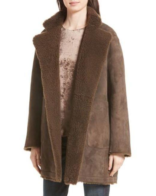 Vince | Brown Reversible Teddy Genuine Shearling Coat | Lyst