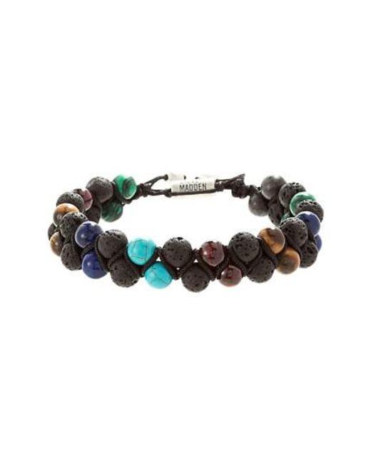 Steve Madden   Brown Stone Bead Bracelet   Lyst