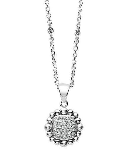 Lagos   Metallic Caviar Spark Square Diamond Pendant Necklace   Lyst
