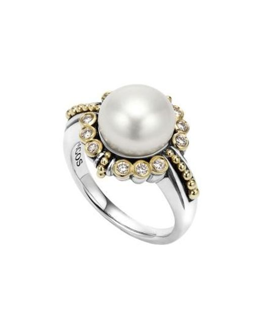 Lagos | Metallic Luna Diamond & Pearl Ring | Lyst