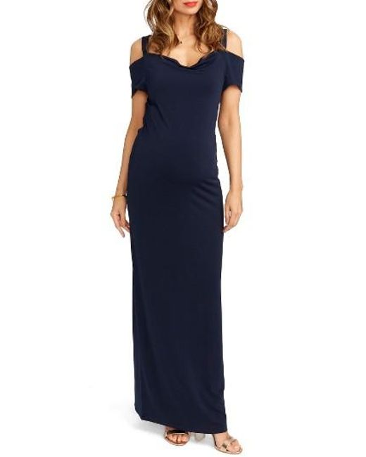 Rosie Pope | Blue Jillian Cold Shoulder Maternity Maxi Dress | Lyst