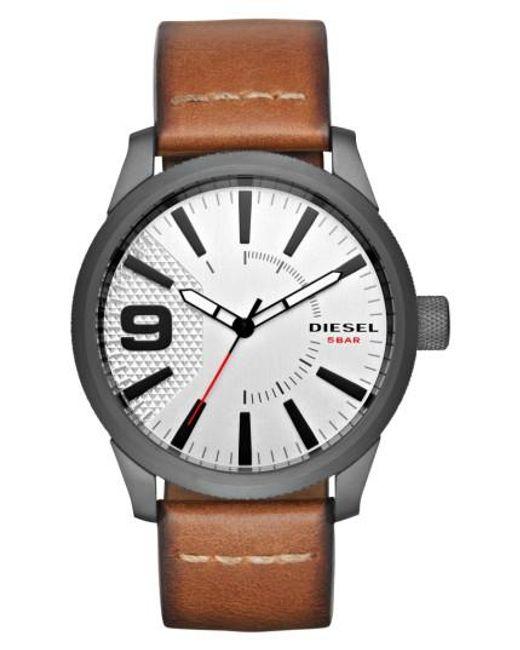 DIESEL | Brown Diesel Rasp Leather Strap Watch for Men | Lyst