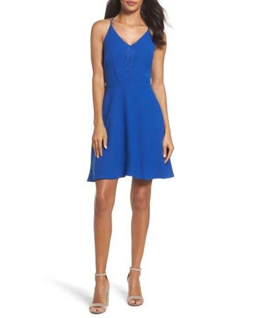 19 Cooper   Blue Crepe Skater Dress   Lyst