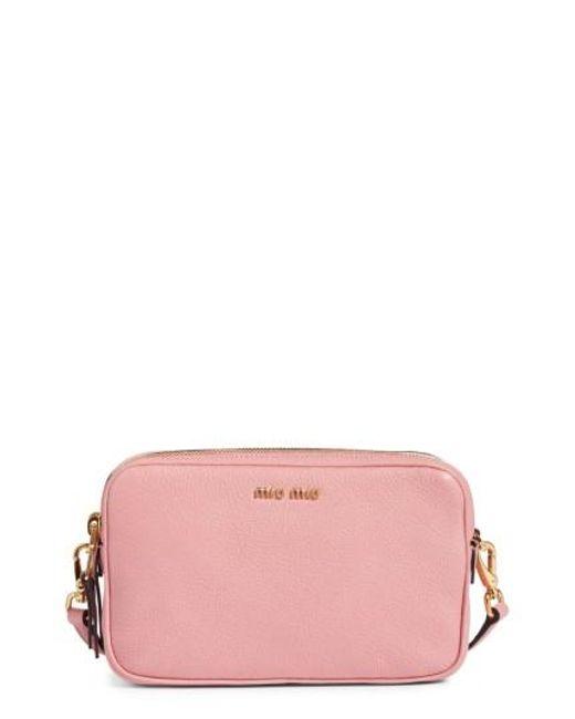 Miu Miu | Pink Madras Goatskin Leather Crossbody Bag | Lyst