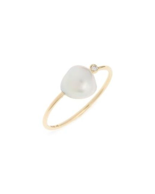 Mizuki | White Sea Of Beauty Diamond & Keshi Pearl Ring | Lyst