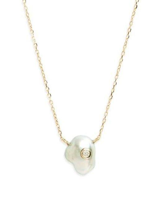 Mizuki | Metallic Sea Of Beauty Pearl & Diamond Pendant Necklace | Lyst