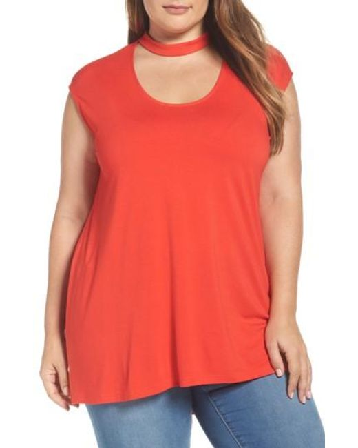 Vince Camuto   Red Mock Choker High/low Blouse   Lyst