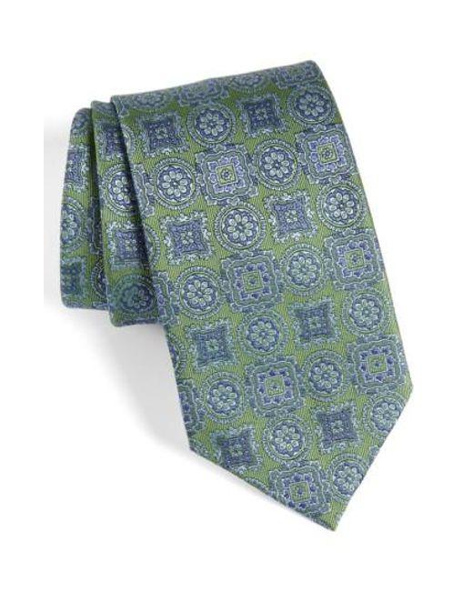 David Donahue   Green Medallion Silk Tie for Men   Lyst