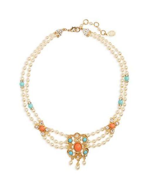 Ben-Amun | Metallic Adriatic Sea Imitation Pearl Drop Necklace | Lyst