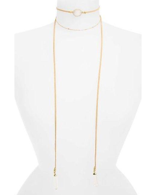 Panacea | White Drusy Quartz Wrap Necklace | Lyst