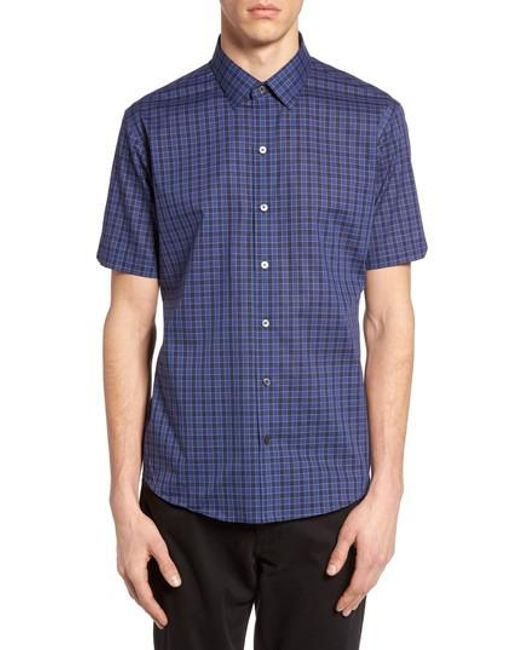 Zachary Prell | Blue 'morrow' Trim Fit Plaid Sport Shirt for Men | Lyst