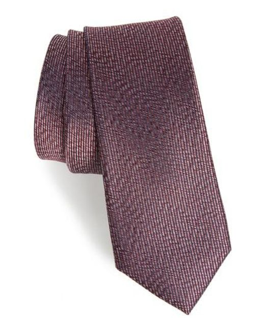 Calibrate | Purple Heathered Solid Silk Tie for Men | Lyst