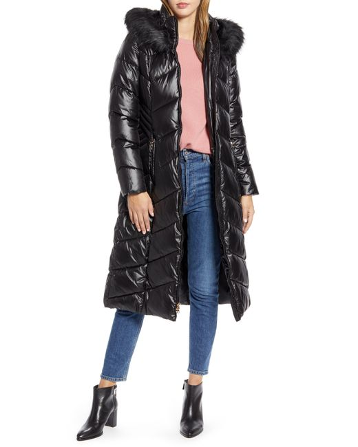 Gallery Black Long Quilted Parka With Faux Fur Trim