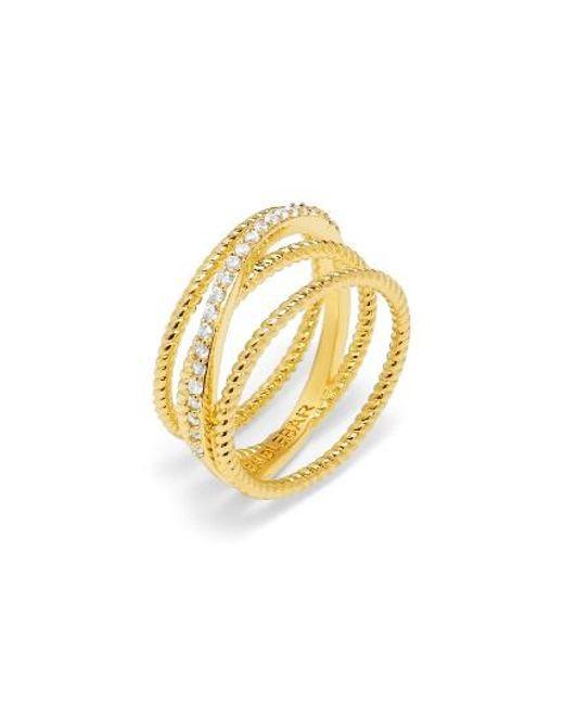 BaubleBar | Metallic Carly Crystal Crossover Ring | Lyst