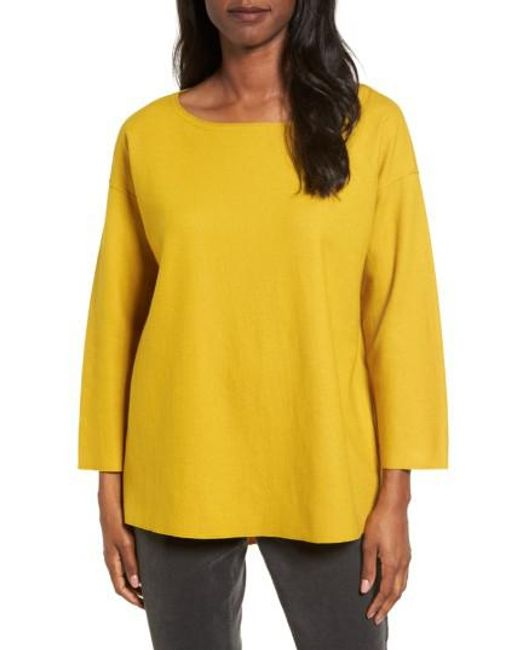 Eileen Fisher | Yellow Boiled Wool Jersey Top | Lyst