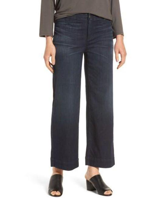 Eileen Fisher | Blue Wide Leg Denim Trousers | Lyst