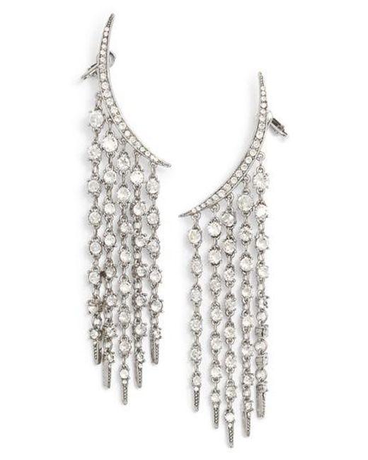 Oscar de la Renta   Metallic Tendril Crystal Earrings   Lyst