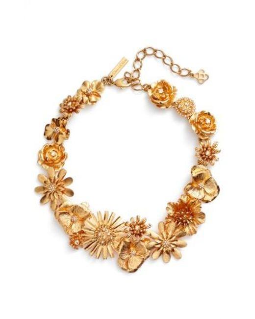 Oscar de la Renta | Metallic Gilded Floral Collar Necklace | Lyst