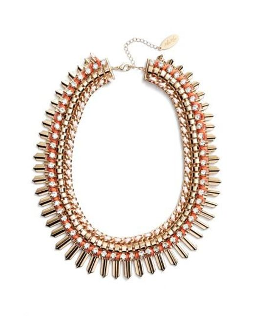 Adia Kibur | Pink Crystal & Suede Statement Necklace | Lyst