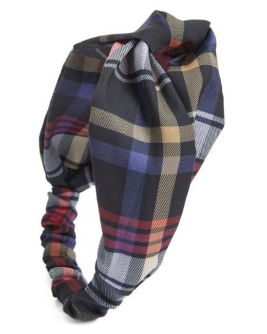 Berry | Blue Plaid Knot Head Wrap | Lyst