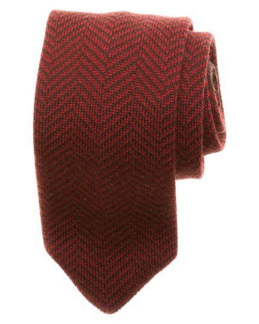 Hook + Albert | Red Herringbone Knit Wool Tie for Men | Lyst